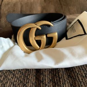 Leather Gucci Belt With Double G Buckle